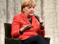 German Chancellor Merkel talks at the 'Staendehaus Treff' panel discussion in Duesseldorf