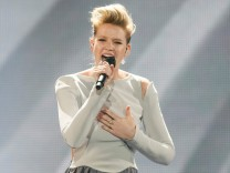 Germany's Levina performs with the song 'Perfect Life' during the Eurovision Song Contest 2017 Grand Final Dress rehearsal 1 at the International Exhibition Centre in Kiev