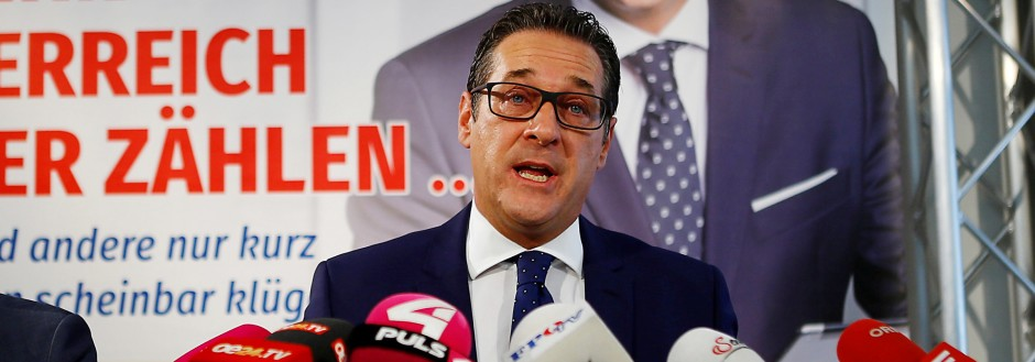 FPO head Strache and Secretary General Kickl address a news conference in Vienna
