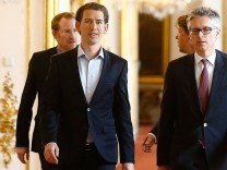 Austria's Foreign Minister and designated new leader of the OeVP Kurz arrives at the presidential office in Vienna