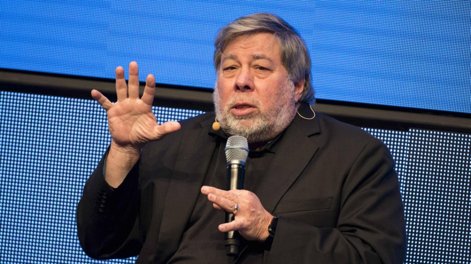 May 12 2017 Berlin Germany Co Founder of Apple Steve Wozniak speaks on the stage during the la