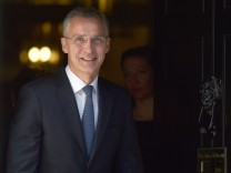 NATO Secretary General Jens Stoltenberg leaves 10 Downing Street in London