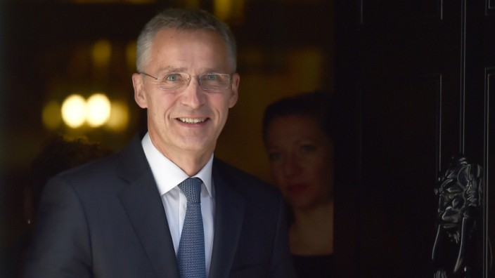 NATO Secretary General Jens Stoltenberg leaves 10 Downing Street in London