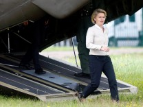 German Defence Minister Ursula von der Leyen leaves a helicopter during her visit of the 13th reconnaissance battalion in Gotha