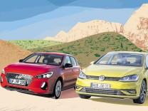 Hyundai i30 und VW Golf 7 Facelift