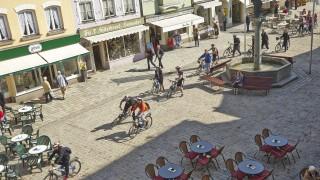 Marktstraße Radfahrer Biker Wanderer