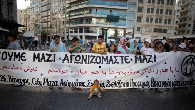 June 16 2016 3000 people participated in a demonstration through innercity Athens on June 16th de