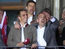 Bayern Muenchen Celebrate German Championship At Town Hall Balcony