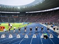 Leichtathletik Berlin 03 09 2016 75 Internationales Stadionfest ISTAF Start 100m der Maenner; Leichtathletik Berlin Olympiastadion 100 Meter