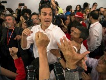 Socialists' Pedro Sanchez celebrates victory with supporters as he gets elected as party's leader in Madrid, Spain