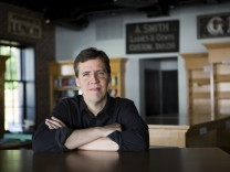 Jeff Kinney, the author of ?Diary of a Wimpy Kid,?  at his soon-to-open bookstore, An Unlikely Story, in Plainville, Mass.