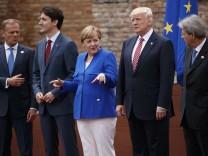 Donald Trump, Shinzo Abe, Jean-Claude Junker, Paolo Gentiloni, Justin Trudeau