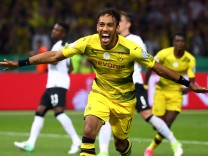 Borussia Dortmund's Pierre-Emerick Aubameyang celebrates scoring their second goal