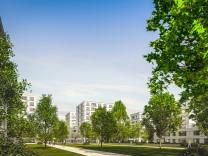 Entwurf Bayernkaserne, Visualisierung Grünboulevard (in der Mitte des Quartiers der große Grünzug vom Quartiersplatz West bis zum Quartiersplatz Ost)