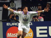 REAL MADRID'S PEDRAG MIJATOVIC CELEBRATES AFTER GOAL