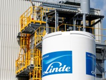 Linde Group logo is seen at company building in Munich
