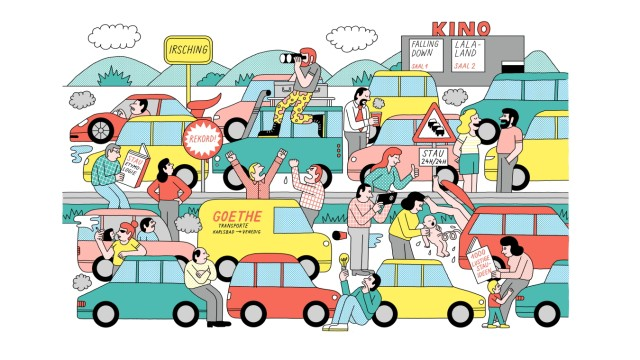 Straßenverkehr Glück im Stau