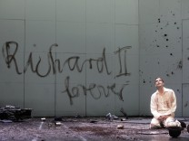 Actor Maertens performs on stage during a dress rehearsal of Shakespeare's Richard II in Vienna