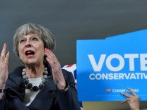 Britain's Prime Minister Theresa May delivers a speech during an election campaign visit to Langton Rugby Club in Stoke-on-Trent