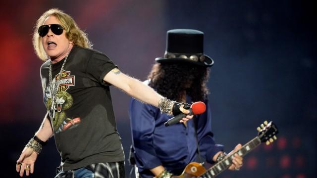 Axl Rose and Slash of U.S. rock band Guns N' Roses perform at the San Mames football stadium in Bilbao