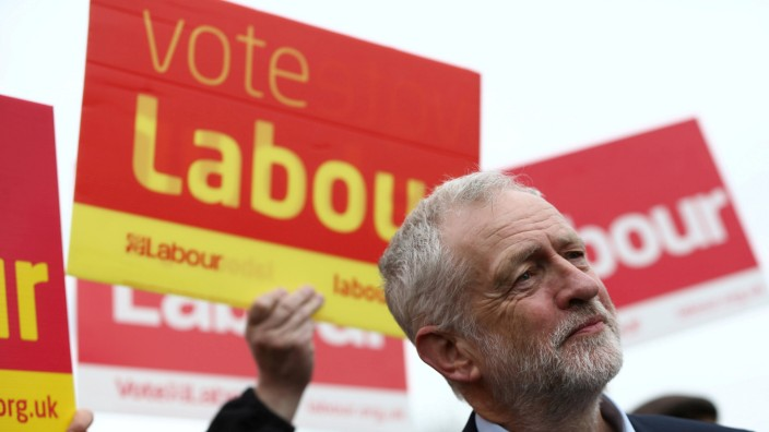 FILE PHOTO: Jeremy Corbyn the leader of Britain's opposition Labour Party speaks during a campaign event in Harlow