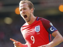 England's Harry Kane celebrates scoring their second goal