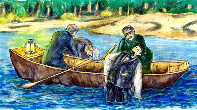 Bergungsszene, von Bichlmeier selbst gemalt: Leonhard Huber zieht König Ludwig tot aus dem See. Mit ihm auf dem Boot ist der Fischer Lidl, der den Leibarzt herausholt. Wichtig: Nur einmalig für Geschichte über Bichlmeiers Film zu KÖnig Ludwig (Mai/Juni 17