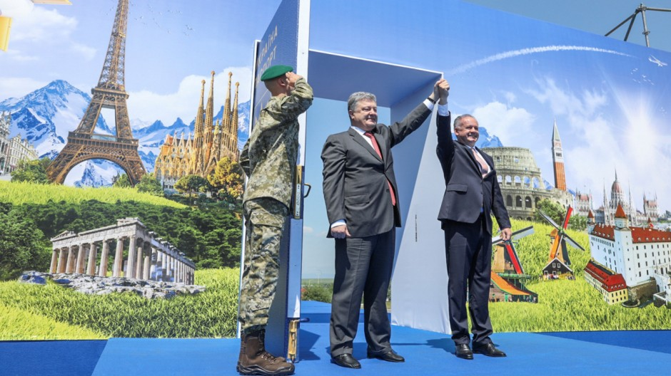 Ukrainian President Poroshenko and Slovak President Kiska attend a ceremony dedicated to a visa-free regime with EU, which comes into force for Ukraine, in Uzhgorod