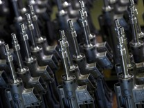 Parts for the Heckler & Koch MG 5 machine gun are pictured during a guided media tour at their headquarters in Oberndorf