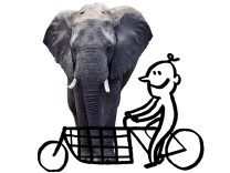 Lastenrad-Grafik mit Elefant