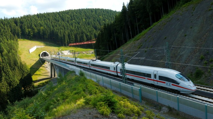 An Intercity Express ICE train of Deutsche Bahn AG is pictured on the new new rail line connecting Berlin and Munich in Goldinsthal near Erfurt