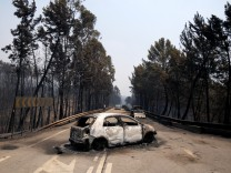 A burned car and burned trees are seen during a forest fire near Figueiro dos Vinhos