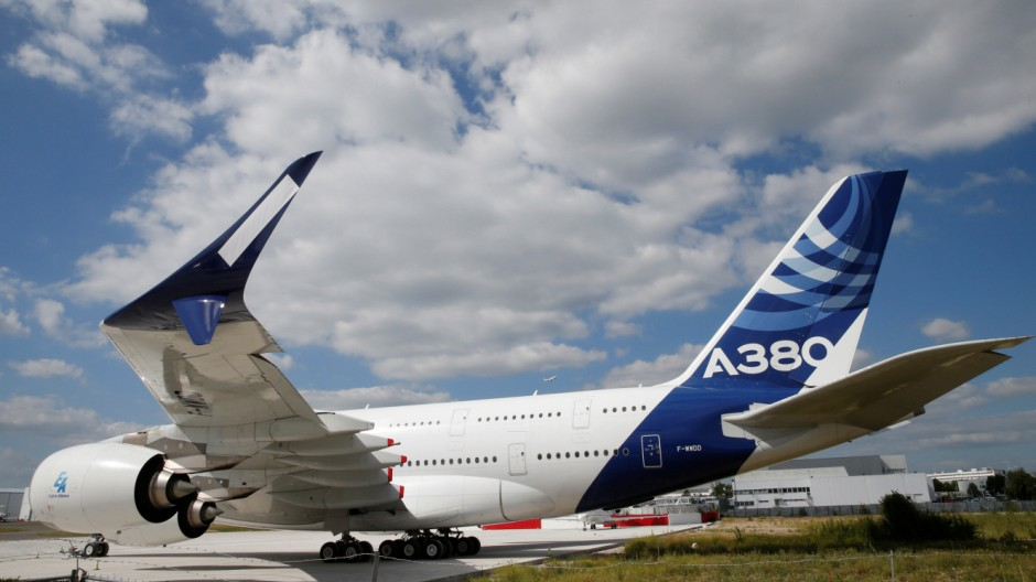 A new fuel-efficient wingtip extension or winglet is seen on an Airbus A380 at Le Bourget
