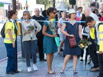 June 19 2017 London Greater London UK London UK Flowers being left in memory of the dead an