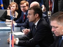 French President Macron, Hungarian PM Orban, Poland's counterpart Szydlo and Slovakia's counterpart Fico attend a meeting of the Visegrad Group in Brussels