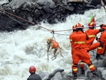 Rescue workers pull a rescue dog across a river at the site of a landslide in the village of Xinmo