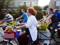 Nijmegen Netherlands 15 06 2017 A large parade cyclists drive through Nijmegen during the Mass Bik