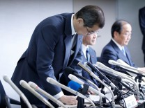 Takata Corp. Chairman and CEO Shigehisa Takada attends a news conference after its decision to file for bankruptcy protection in Tokyo