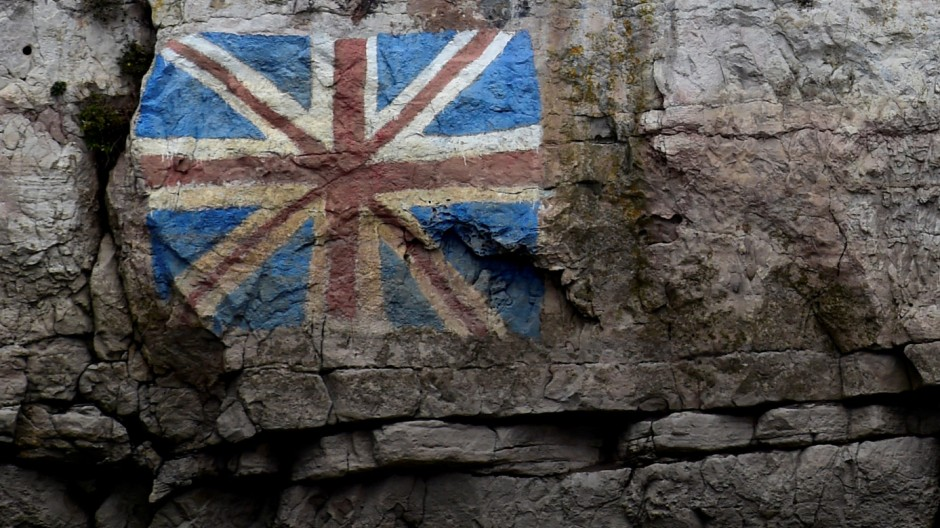 A painted Union Flag, popularly known as the Union Jack, the national flag of the United Kingdom is seen on the rocks on the English side of the River Wye, Chepstow