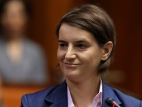 Serbia's Prime Minister designate Ana Brnabic smiles during a parliament session in Belgrade