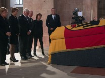 Merkel, Buedenbender, Steinmeier, Lammert, Dreyer, Vosskuhle attend a pontifical requiem mass for late former German Chancellor Helmut Kohl in the cathedral in Speyer