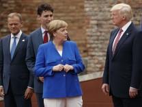 Donald Trump, Justin Trudeau, Angela Merkel, Donald Tusk