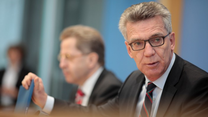 German Interior Minister de Maiziere and Maassen address news conference in Berlin