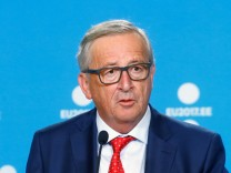 President of the EU Commission Juncker speaks during a news conference in Tallinn
