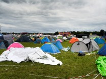 The camping site of the Bravalla festival is pictured on its last day, in Norrkoping; jetzt Festival