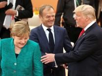 Angela Merkel, Donald Tusk und US-Präsident Donald Trump beim G-20-Gipfel in Hamburg