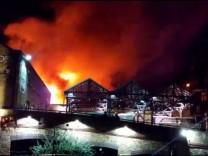 Camden Market is seen ablaze in London