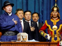 New Mongolia's president Khaltmaa Battulga takes an oath during his inauguration ceremony in Ulaanbaatar