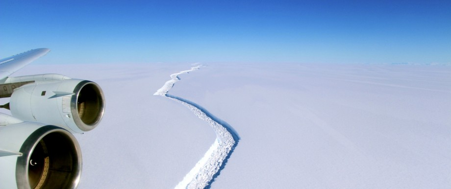 A rift across the Larsen C Ice Shelf that had grown longer and deeper is seen during an airborne surveys of changes in polar ice over the Antarctic Peninsula