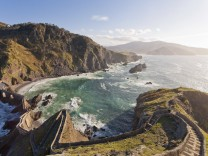 Spain Biscay Basque Country Steps to the San Juan de Gaztelugatxe chapel on a rocky island PUBLI